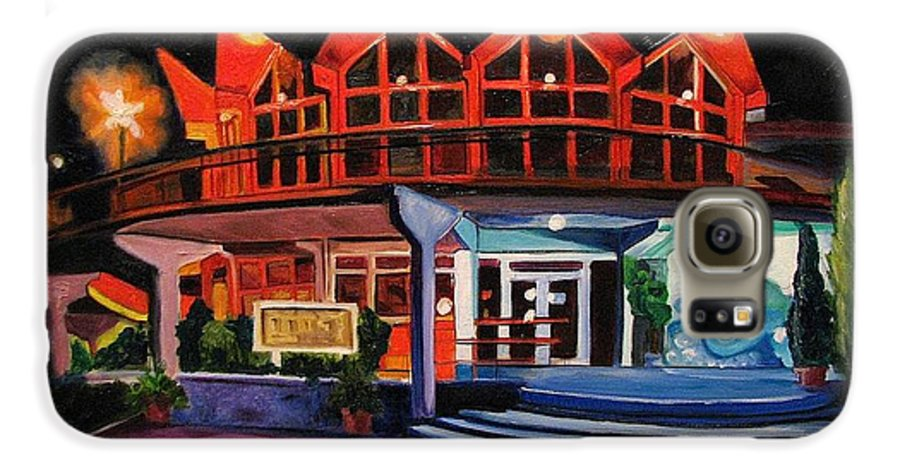 Asbury Art Galaxy S6 Case featuring the painting Howard Johnsons At Night by Patricia Arroyo