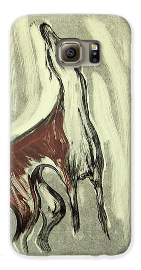 Monotype Galaxy S6 Case featuring the mixed media Howling For Joy by Cori Solomon