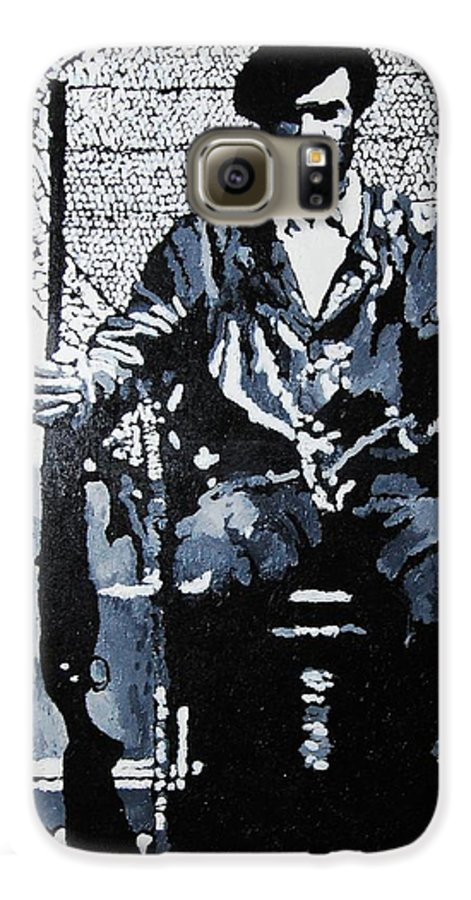 Black Panther Galaxy S6 Case featuring the painting Huey Newton Minister Of Defense Black Panther Party by Lauren Luna