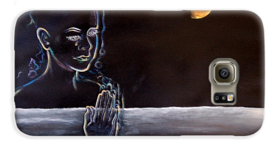 Moon Galaxy S6 Case featuring the painting Human Spirit Moonscape by Susan Moore