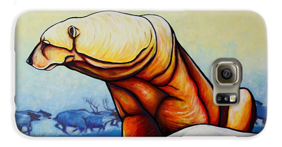 Wildlife Galaxy S6 Case featuring the painting Hunger Burns - Polar Bear And Caribou by Joe Triano