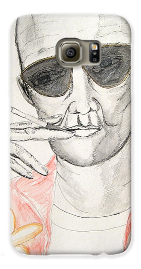 Hunter Thompson Gonzo Journalist Portrait Man Darkestartist Darkest Artist Galaxy S6 Case featuring the painting Hunter S. Thompson by Darkest Artist