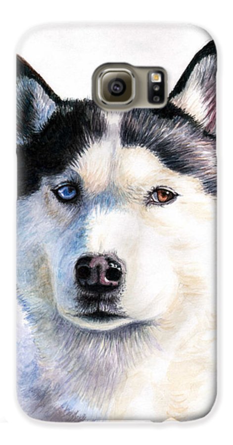 Dog Galaxy S6 Case featuring the painting Husky Blue by Nicole Zeug