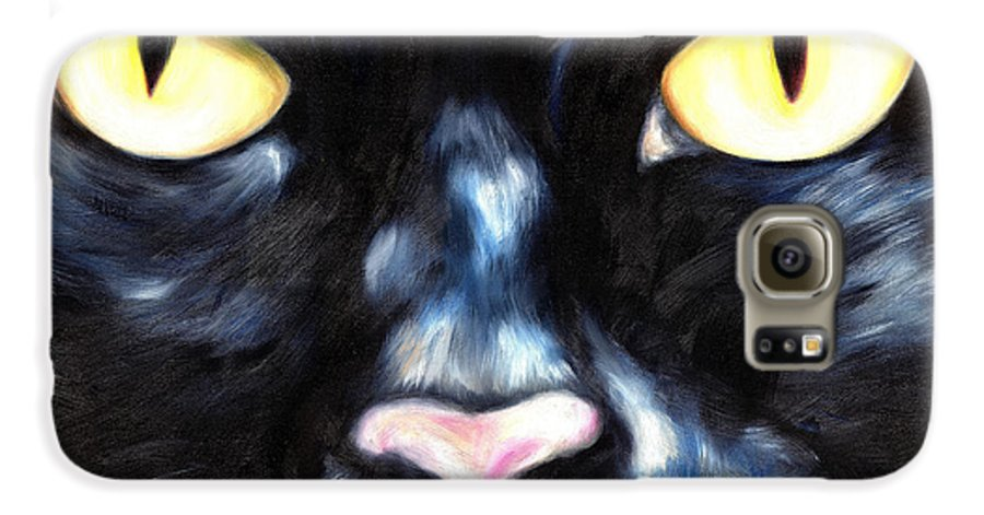 Black Cat Galaxy S6 Case featuring the painting I Am Night by Hiroko Sakai
