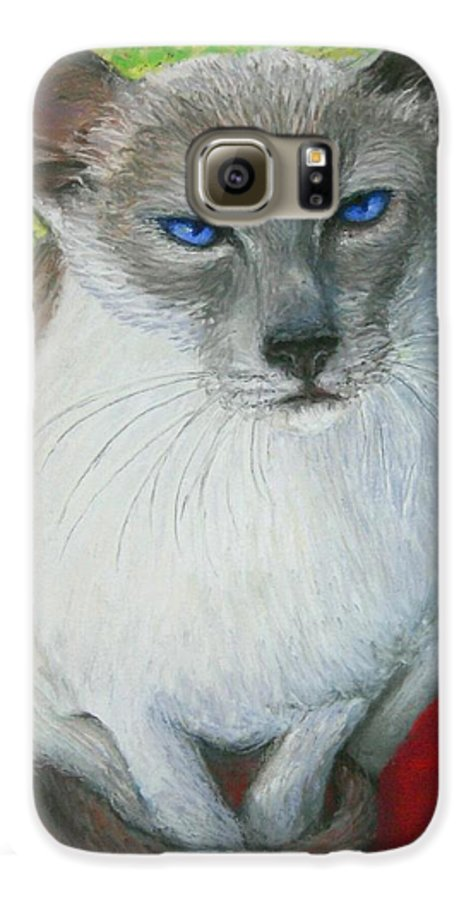 Siamese Galaxy S6 Case featuring the painting I Am Siamese If You Please by Minaz Jantz