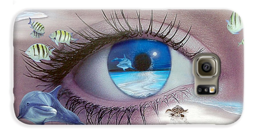 Dolphins Galaxy S6 Case featuring the photograph I Witness Testigo by Angel Ortiz