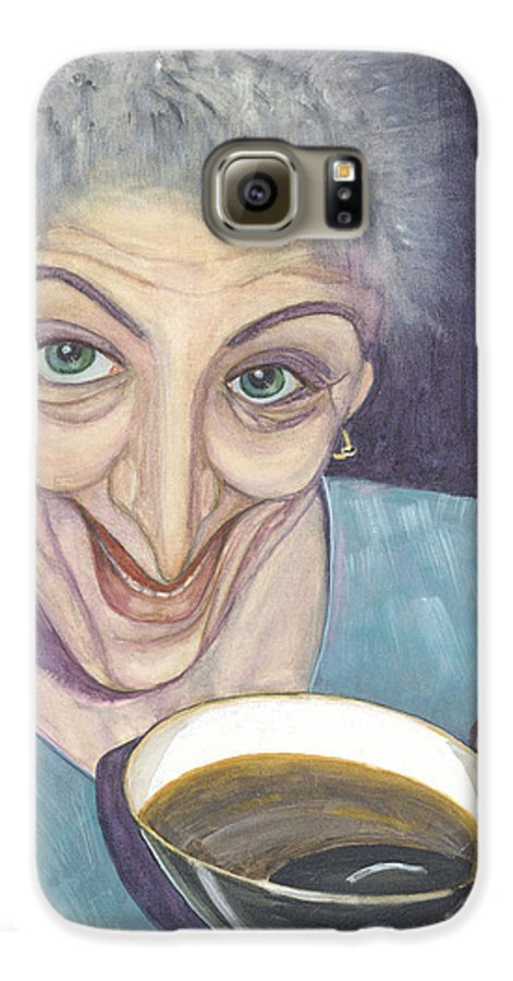 Portrait Galaxy S6 Case featuring the painting I Would Like To Try This One by Olga Alexeeva