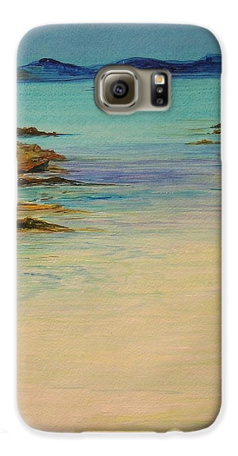 Seascape Original Painting Galaxy S6 Case featuring the painting Ibiza In The Distance.... by Lizzy Forrester