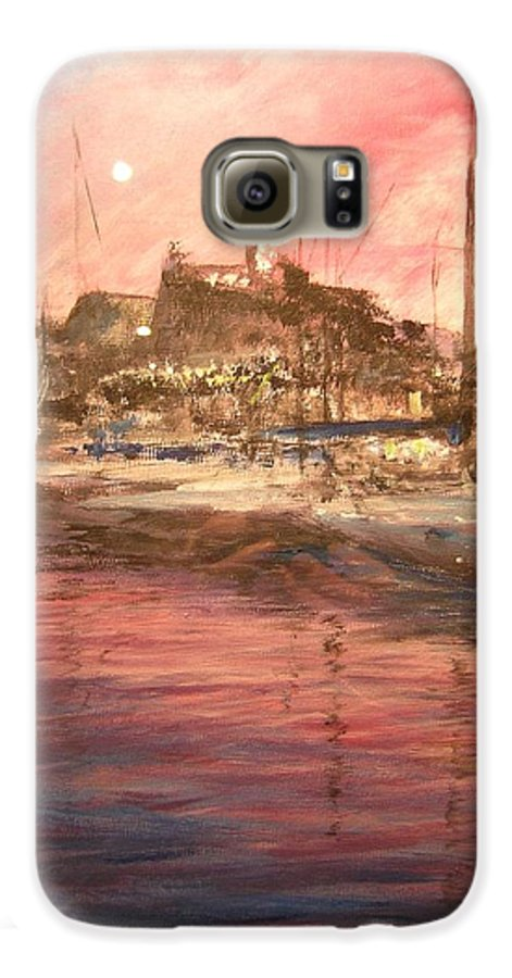 Yachts Galaxy S6 Case featuring the painting Ibiza Old Town At Sunset by Lizzy Forrester