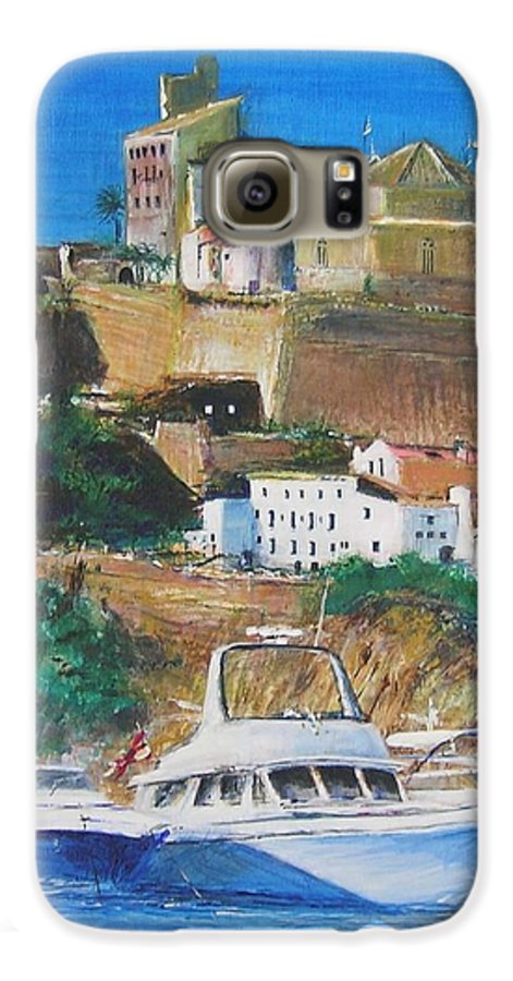 Original Landscape Painting Galaxy S6 Case featuring the painting Ibiza Town by Lizzy Forrester