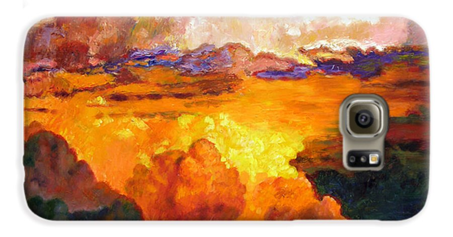 Clouds Galaxy S6 Case featuring the painting Ill Fly Away O Glory by John Lautermilch