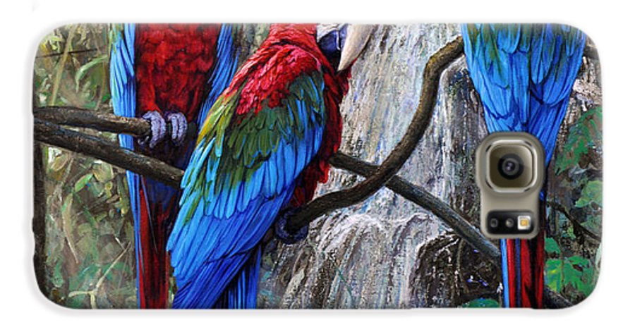 Macaws Galaxy S6 Case featuring the painting In Front Of The Cascade by Gabriel Hermida