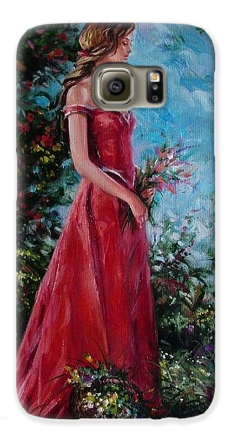 Figurative Galaxy S6 Case featuring the painting In Summer Garden by Sergey Ignatenko