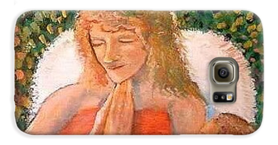 Angels Galaxy S6 Case featuring the painting In The Garden We Pray by J Bauer