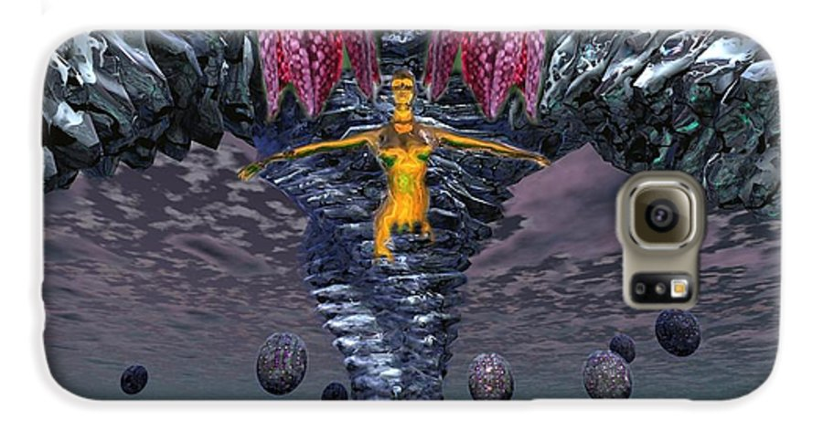 3d Computer Nude Woman Gold Fantasty Galaxy S6 Case featuring the digital art Incoming by Dave Martsolf