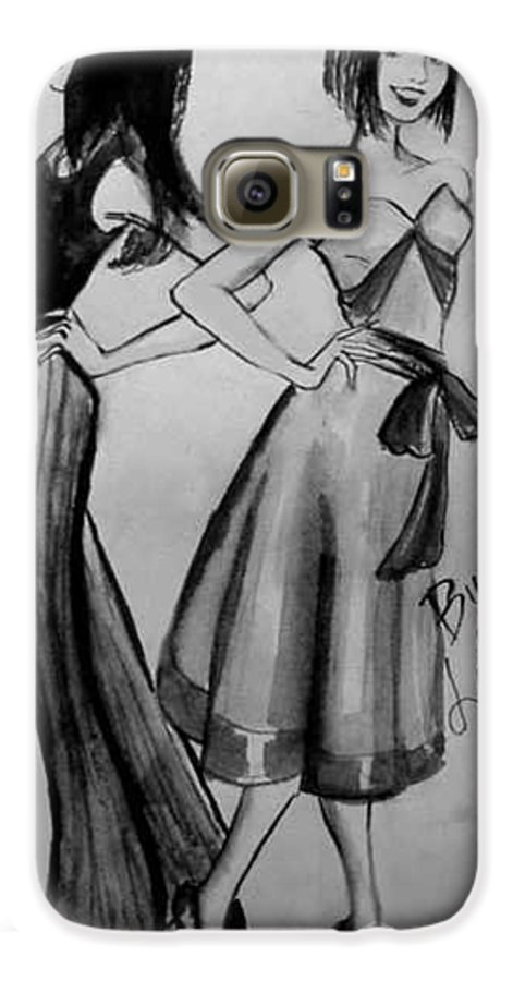 Fashion Galaxy S6 Case featuring the drawing Ink Ladies by Laura Rispoli