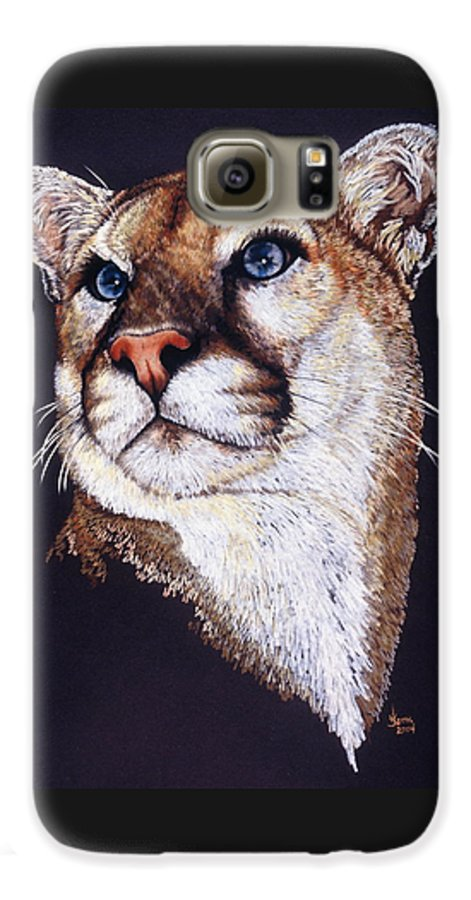 Cougar Galaxy S6 Case featuring the drawing Intense by Barbara Keith