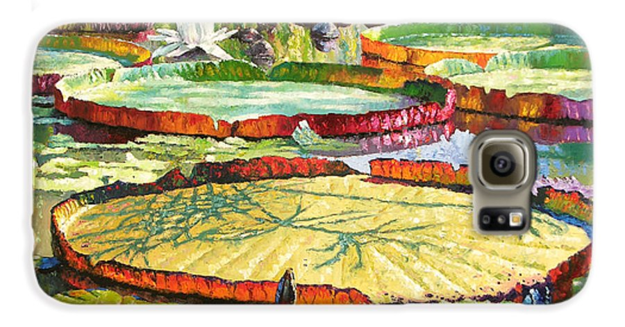 Garden Pond Galaxy S6 Case featuring the painting Interwoven Beauty by John Lautermilch