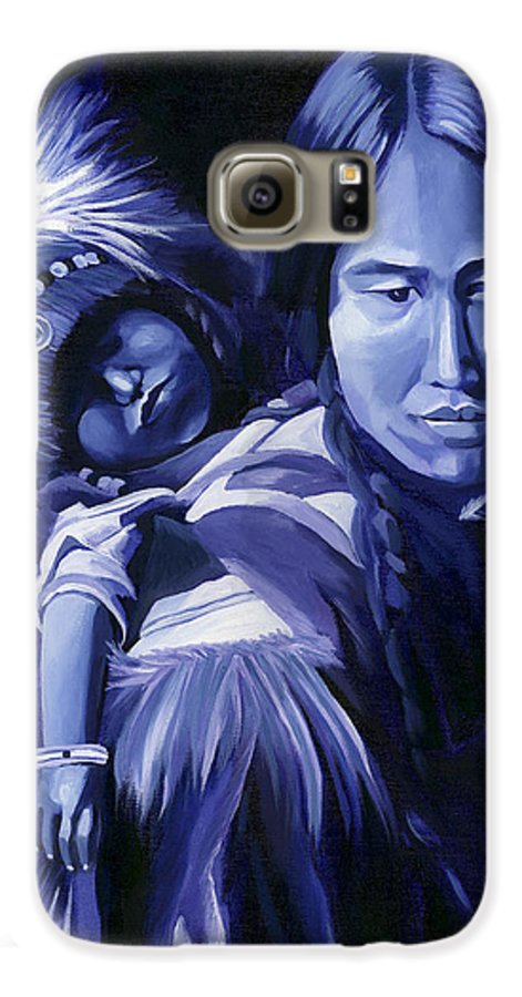 Native American Galaxy S6 Case featuring the painting Inuit Mother And Child by Nancy Griswold