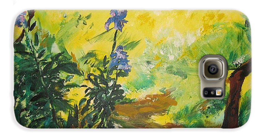 Sunlight Galaxy S6 Case featuring the painting Irises And Sunlight by Lizzy Forrester
