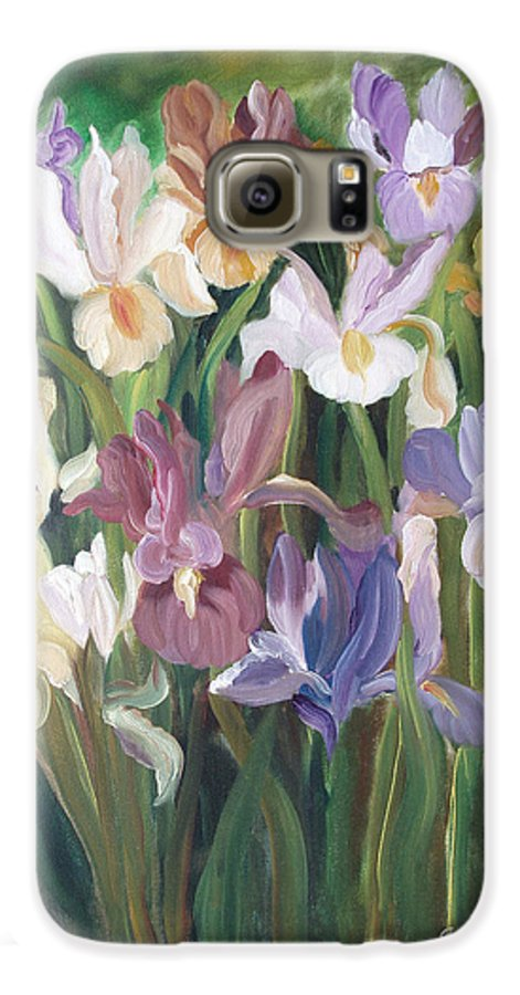 Irises Galaxy S6 Case featuring the painting Irises by Gina De Gorna