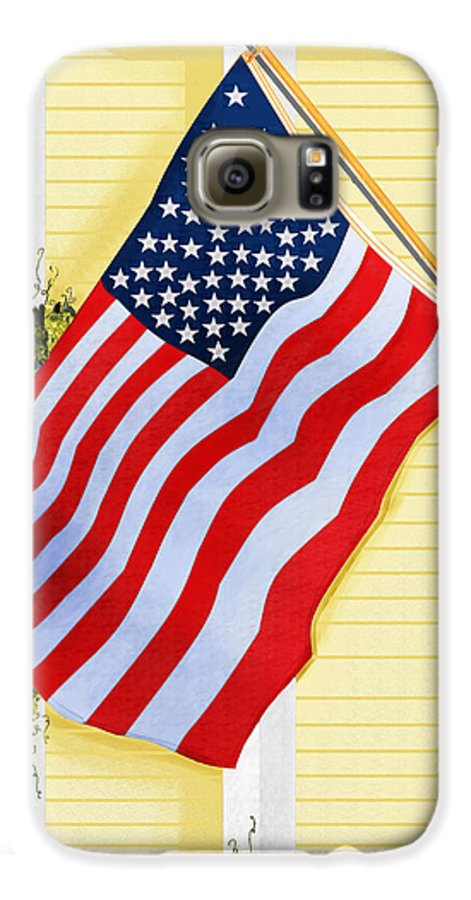 U.s. Flag Galaxy S6 Case featuring the painting It Will Fly Until They All Come Home by Anne Norskog