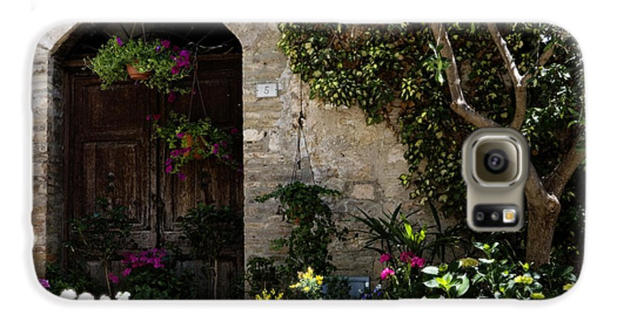 Flower Galaxy S6 Case featuring the photograph Italian Front Door Adorned With Flowers by Marilyn Hunt