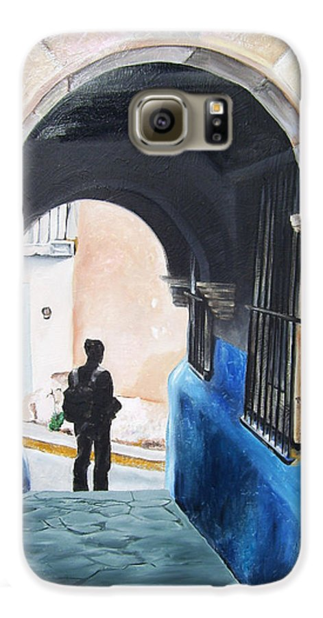 Archway Galaxy S6 Case featuring the painting Ivan In The Street by Laura Pierre-Louis