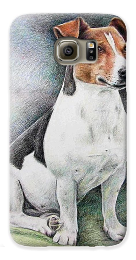 Dog Galaxy S6 Case featuring the drawing Jack Russell Terrier by Nicole Zeug