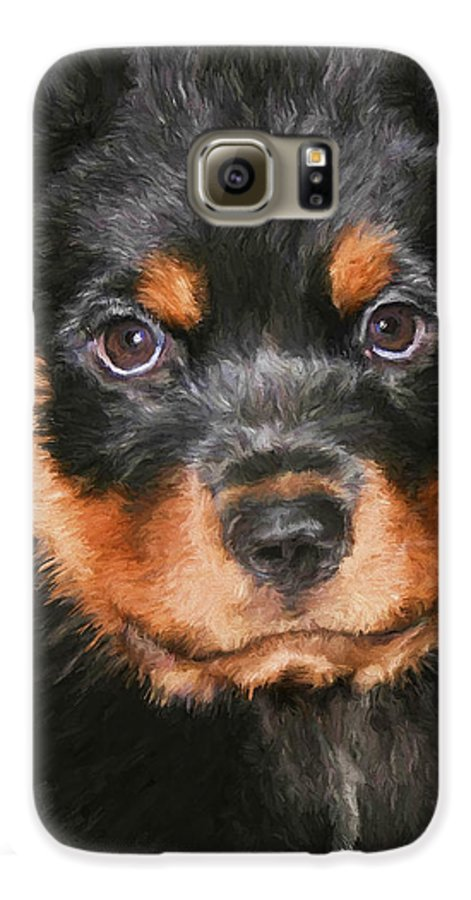 Rottweiler Galaxy S6 Case featuring the painting Jacob by David Wagner