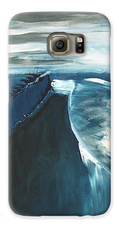 Abstract Acrylic Artist Blue Darkest Darkestartist January Painting Water Ice Galaxy S6 Case featuring the painting January by Darkest Artist