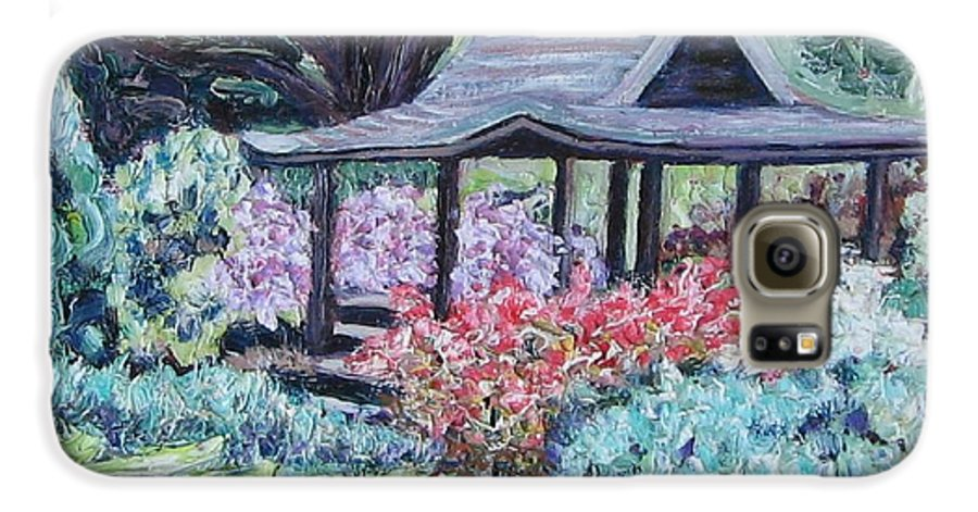Garden Galaxy S6 Case featuring the painting Japanese Garden by Richard Nowak