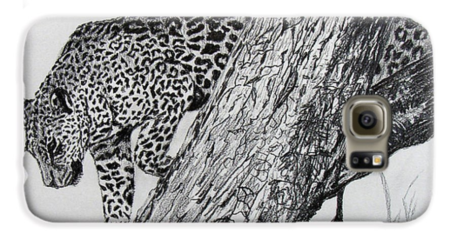 Original Drawing Galaxy S6 Case featuring the drawing Jaquar In Tree by Stan Hamilton