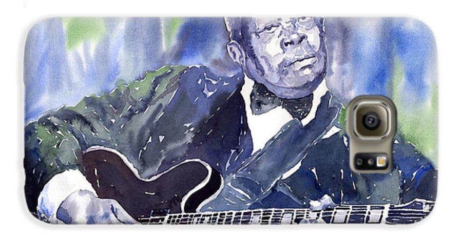 Jazz Bbking Music Watercolor Watercolour Guitarist Portret Galaxy S6 Case featuring the painting Jazz B B King 01 by Yuriy Shevchuk