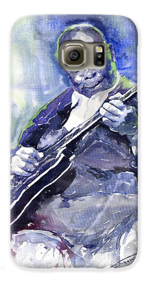 Jazz Galaxy S6 Case featuring the painting Jazz B B King 02 by Yuriy Shevchuk