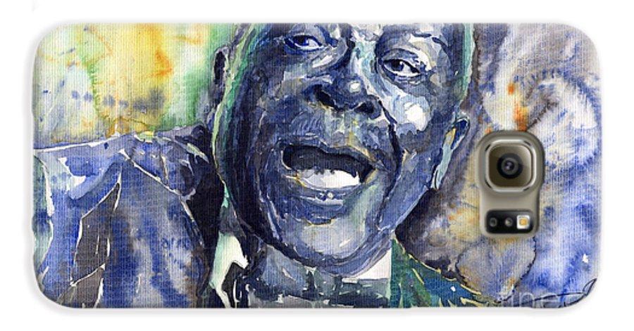 Jazz Galaxy S6 Case featuring the painting Jazz B.b.king 04 Blue by Yuriy Shevchuk