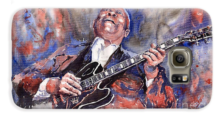 Jazz Galaxy S6 Case featuring the painting Jazz B B King 05 Red A by Yuriy Shevchuk