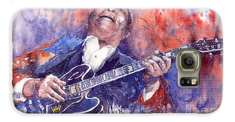 Jazz Galaxy S6 Case featuring the painting Jazz B B King 05 Red by Yuriy Shevchuk