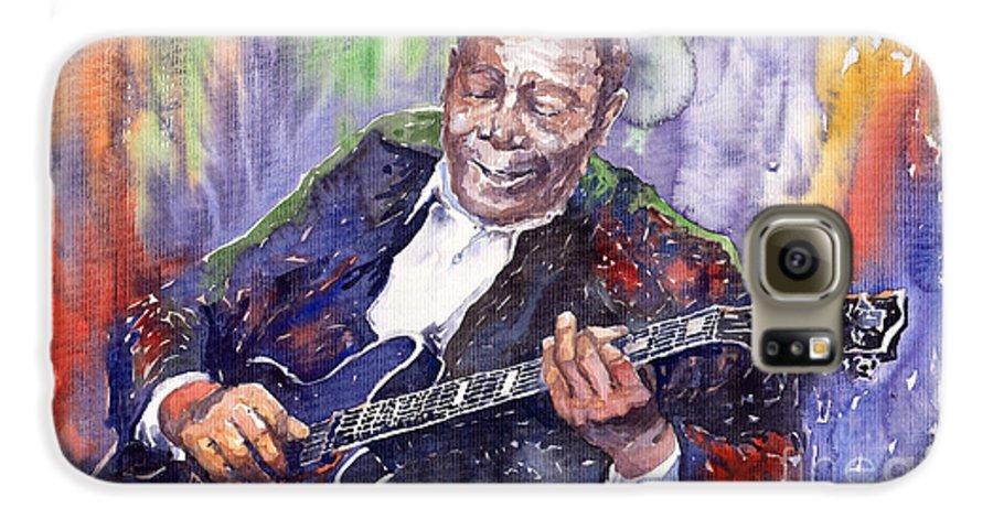 Jazz Galaxy S6 Case featuring the painting Jazz B B King 06 by Yuriy Shevchuk