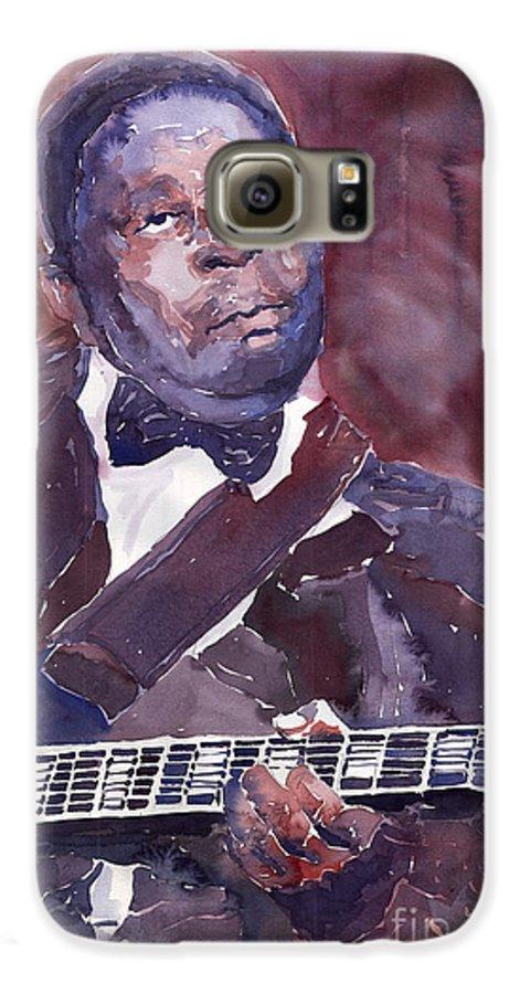 Jazz Bbking Guitarist Blues Portret Figurative Music Galaxy S6 Case featuring the painting Jazz B B King by Yuriy Shevchuk