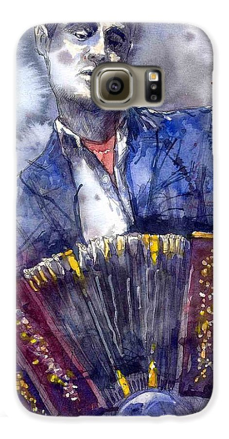 Jazz Galaxy S6 Case featuring the painting Jazz Concertina Player by Yuriy Shevchuk