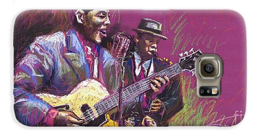 Jazz Galaxy S6 Case featuring the painting Jazz Guitarist Duet by Yuriy Shevchuk