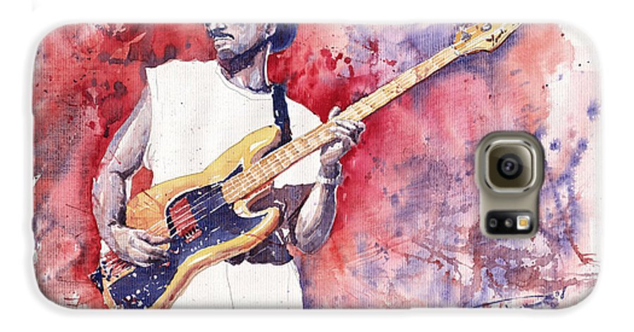 Jazz Galaxy S6 Case featuring the painting Jazz Guitarist Marcus Miller Red by Yuriy Shevchuk