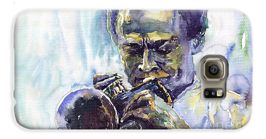 Jazz Miles Davis Music Musiciant Trumpeter Portret Galaxy S6 Case featuring the painting Jazz Miles Davis 10 by Yuriy Shevchuk
