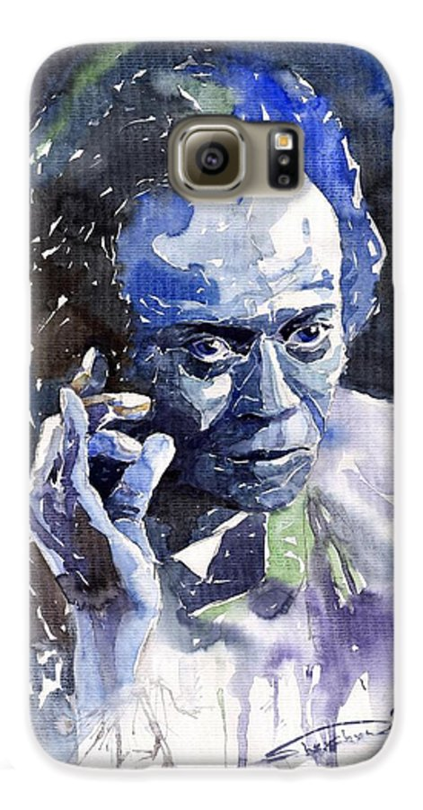 Jazz Galaxy S6 Case featuring the painting Jazz Miles Davis 11 Blue by Yuriy Shevchuk