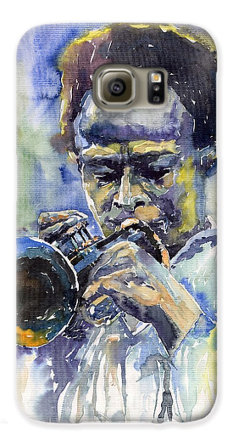Jazz Galaxy S6 Case featuring the painting Jazz Miles Davis 12 by Yuriy Shevchuk