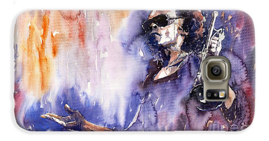 Jazz Galaxy S6 Case featuring the painting Jazz Miles Davis 14 by Yuriy Shevchuk