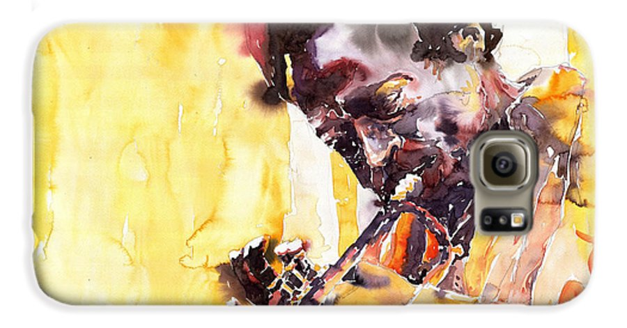 Jazz Music Watercolor Watercolour Miles Davis Trumpeter Portret Galaxy S6 Case featuring the painting Jazz Miles Davis 6 by Yuriy Shevchuk