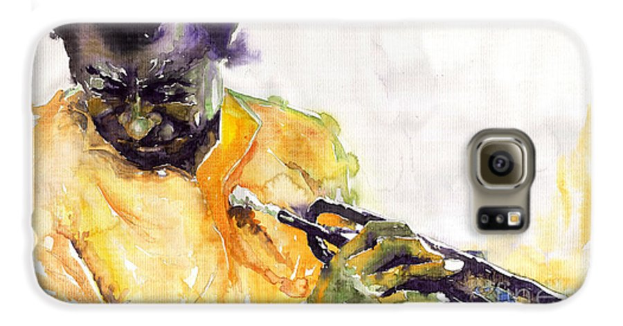 Davis Figurativ Jazz Miles Music Portret Trumpeter Watercolor Watercolour Galaxy S6 Case featuring the painting Jazz Miles Davis 7 by Yuriy Shevchuk