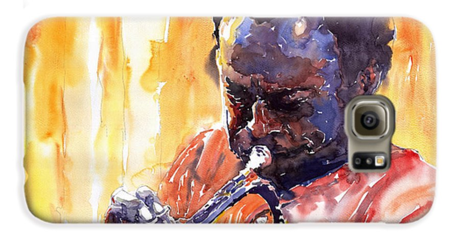 Jazz Miles Davis Music Watercolor Watercolour Figurativ Portret Trumpeter Galaxy S6 Case featuring the painting Jazz Miles Davis 8 by Yuriy Shevchuk